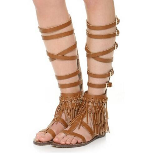 2017 hot selling flat sandal boots sexy open toe rivets studded knee high boots leather fringed gladiator boot buckle strap shoe