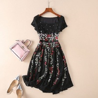 New Celebrity Inspired Women Dresses Vestidos De Festa 2018 Summer Style Vintage Woman Party Luxury Embroidery Lace Dress Female