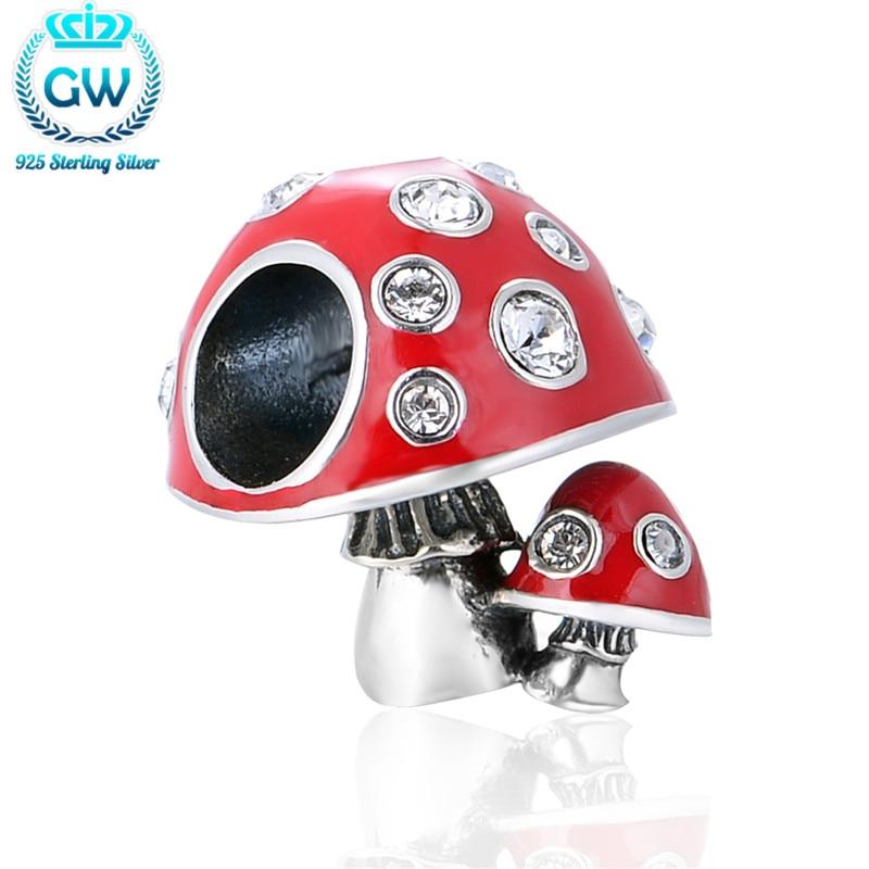 925 Sterling Silber Pilz Charms mit roter Emaille Europäische Perlen Passend Armband Marke Gw Perlen & Diy Schmuckherstellung D177