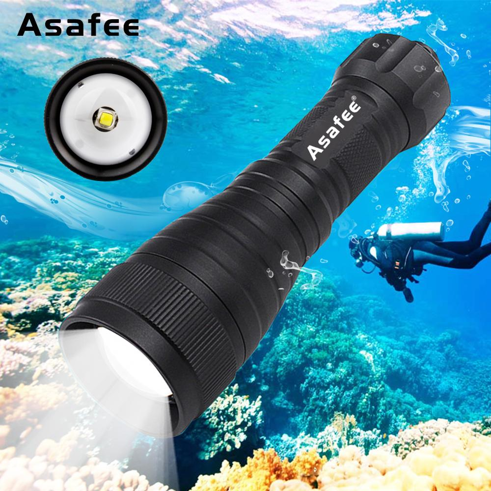 Asafee DIV05V Tauchlampe Video 55 Grad Abstrahlwinkel Handtauchlampe Scuba 1050 LM CREE XM-L2 LED Tauchlampe