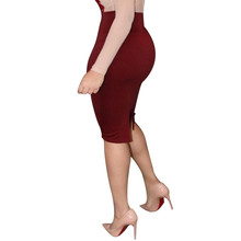 Sexy O Neck Long Sleeve Beige and Red Dress Pencil Women Formal Dresses for Work Party Women Tunic Midi Bodycon Office Dress