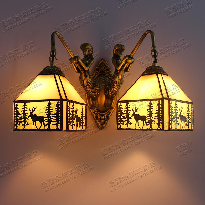 light American country light stained glass double wall lamp elk aisle 2 head bathroom wall lamps DF41