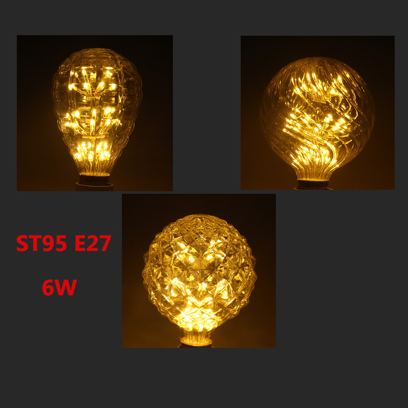 G95 Pineapple Starry Sky lamp LED Edison Filament Light bulb E27 220V 6W Energy Saving Firework Led Bulb Christmas Decoration dynamite baits xl pineapple