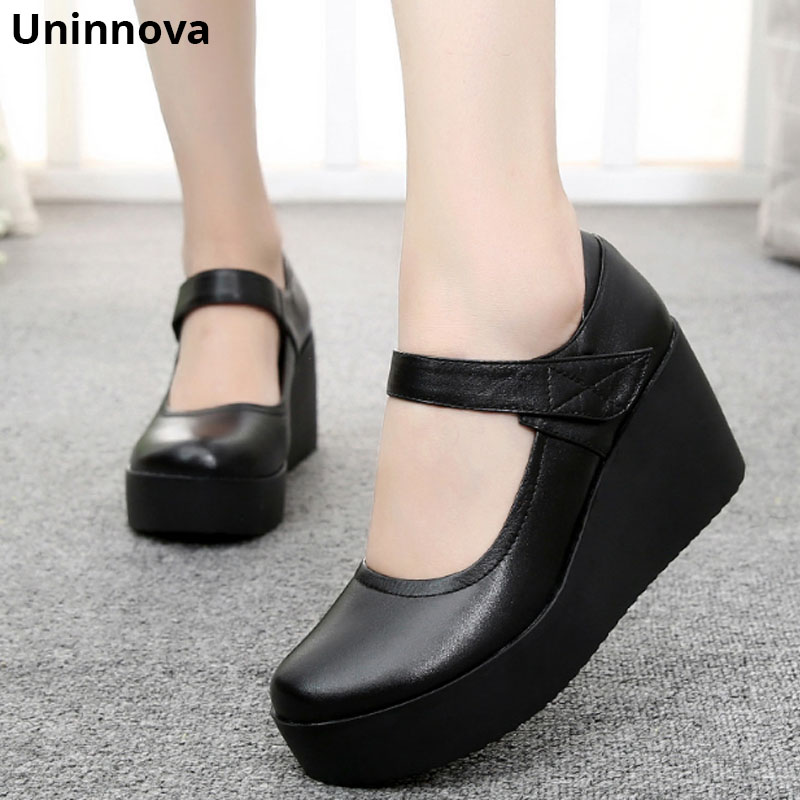 Durable Genuine Leather Wedge Heels Women Mary Jane Platform Low Cut Upper Office Lady Shoes Uninnova