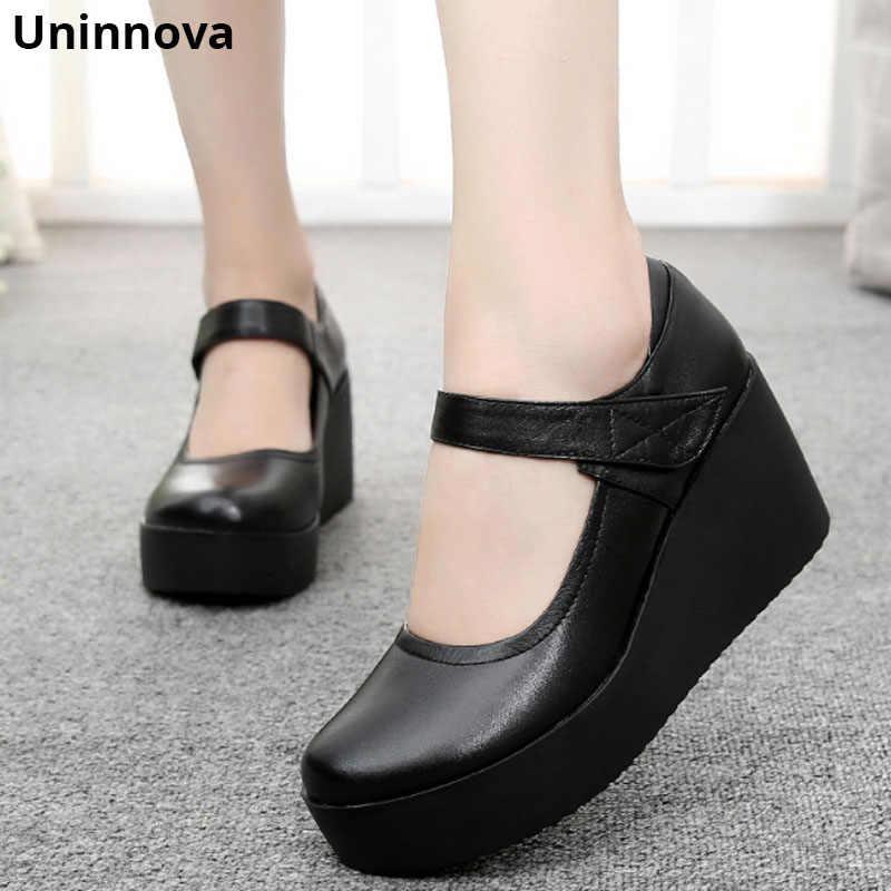 5dedb7f6519b Wedge Heels Women Mary Janes Genuine Leather Durable Platform Low Cut Upper  Office Lady Shoes Uninnova