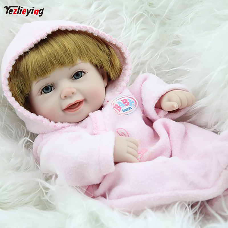 NPKDOLL Reborn Baby Doll Full Silicone Vinyl Body Girl Blond Doll Mini 10 inches Fashion ...