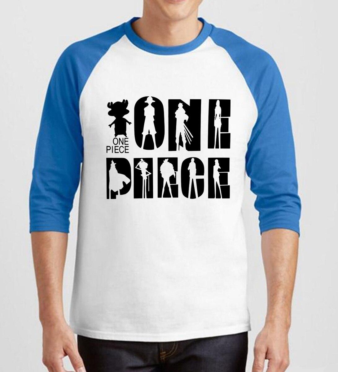 2019 summer cotton raglan sleeves camisetas Anime one piece printed t shirts Cartoon man's kpop three quarter sleeve t-shirts pp