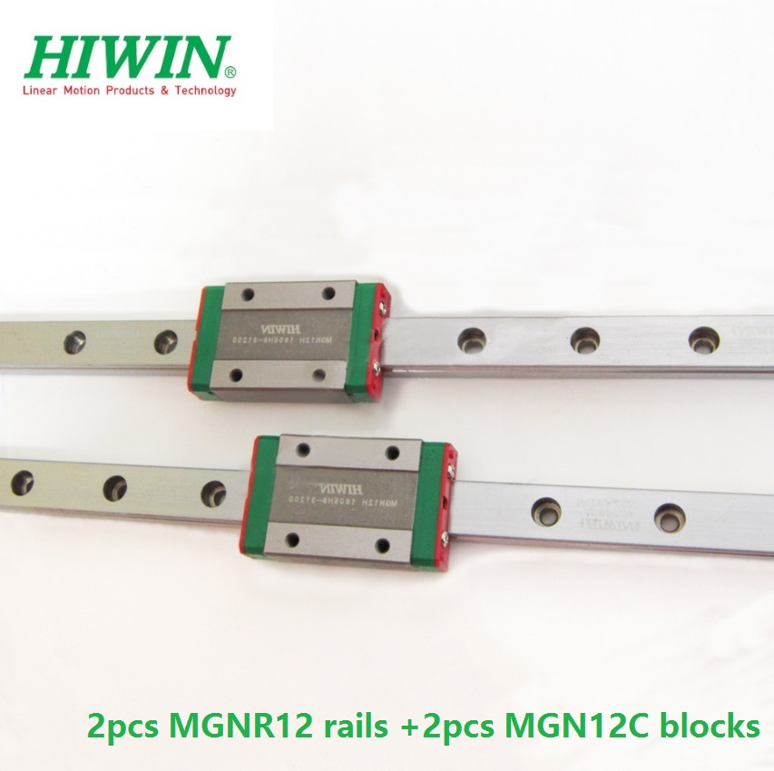 2 uds Original Hiwin carril MGNR12-L 100mm/200mm/300mm/330mm/400mm/500mm/550mm + 2 uds MGN12C bloques