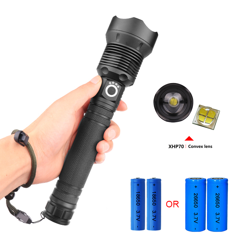32W Super power zoomble usb led flashlight 18650 or 26650 cree xhp70 torch flashlight Rechargeabl lampe torche hunting hand lamp