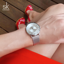 цена Shengke 7MM Ultra Thin Dial Watches Women Top Brand Luxury Quartz Watch Reloj Mujer 2019 SK Ladies Fashion Wrist Watch For Women онлайн в 2017 году