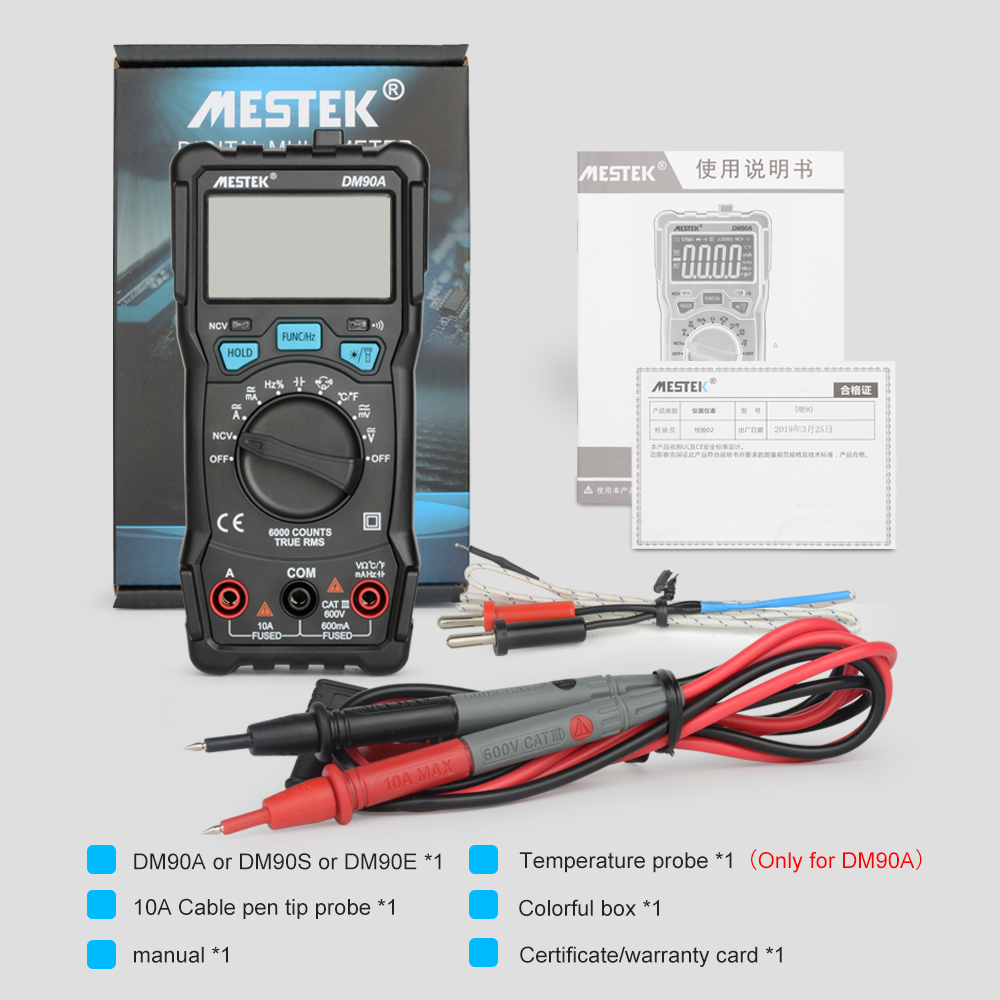 MESTEK Digital Multimeter with 6000 Counts and Auto Range Feature for Voltage Frequency and Resistance 5
