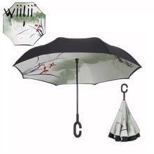 여자를위한 접는 역방향 우산 더블 레이어 비 우산 다기능 무료 휴대용 C 핸들 반전 된 Windproof 우산