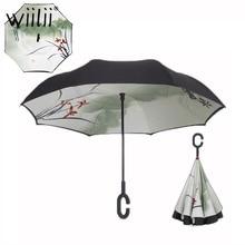 Folding Reverse Umbrella Double Layer Rain Umbrellas For Women Multifunction Free portable C Handle Inverted Windproof Umbrella