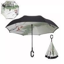 Katlanır ters şemsiye çift katmanlı yağmur şemsiye kadınlar için çok fonksiyonlu ücretsiz taşınabilir C kolu ters rüzgar geçirmez şemsiye