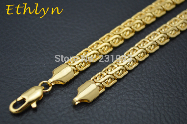 Ethlyn Mens Gold Jewelry Customized Size 7mm 60cm Gold Plated