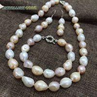 Summer Sheen Semi Baroque Necklace Bracelet Hook Dangle Earring Pearl Set Mixed Color White Pink Purple