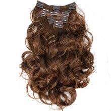 Клип в Наращивание Волос 8 шт. 22 inch 55 см Длинные Парики Вьющиеся Волнистые Жаропрочных Синтетический Расширение Натуральных Волос