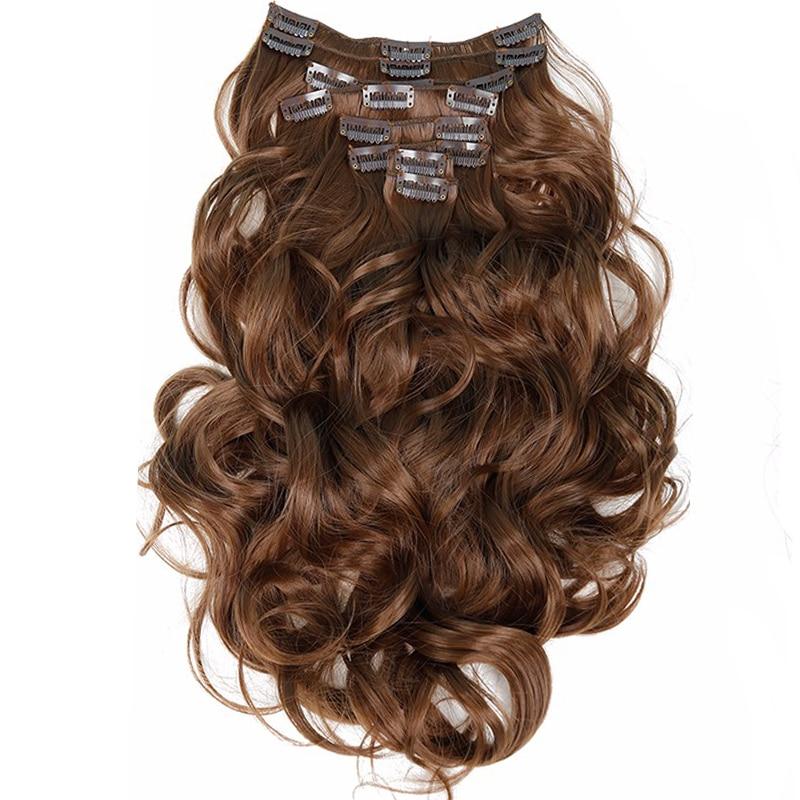 Klipp i hårförlängningar 8st 22inch 55 cm Långt hårstycke Vågigt värmebeständigt syntetiskt naturligt hårförlängning