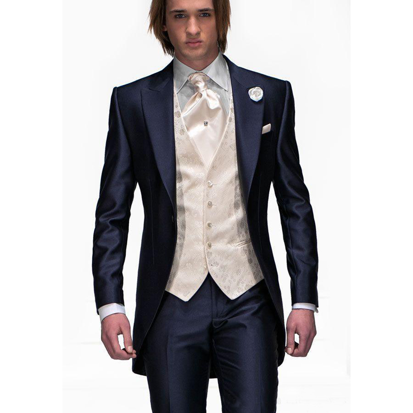 Hot Peak Lapel Royal Blue Tailcoat Slim Fit Groom Tuxedos Men S
