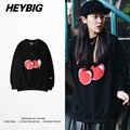 HEYBIG youth Hip hop crewneck Sweatshirts Cherry Print 2016 winter Fleece Warm Streetwear Korean Fashion Hoodie Asian Size