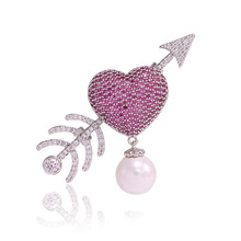 Cupid Arrow Heart Love Crystal CZ Luxury Brooches Pins for Women Large Sweater's Pins and Brooches Christmas Jewlery Gifts X026