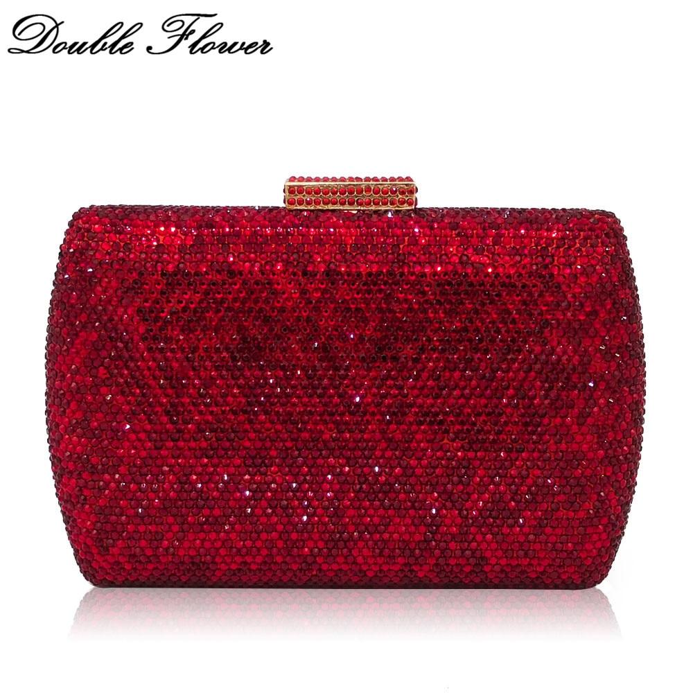 Double Flower Dazzling Ruby Red Women Crystal Clutch Evening Handbags Wedding Dress Formal Dinner Bridal Diamond