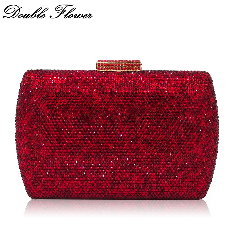 Double Flower Dazzling Ruby Red Women Crystal Clutch Evening Handbags Wedding Dress Formal Dinner Bridal Diamond Purse Bag