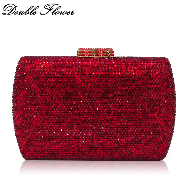 Double Flower Dazzling Ruby Red Women Crystal Clutch Evening Handbags Wedding Dress Formal Dinner Bridal Diamond Purse Bag