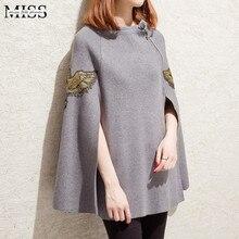 Корейский стиль, женские свитера и пуловеры, осень, пончо, Feminino Inverno, вышитый плащ, шаль, куртка, пальто, зимняя верхняя одежда