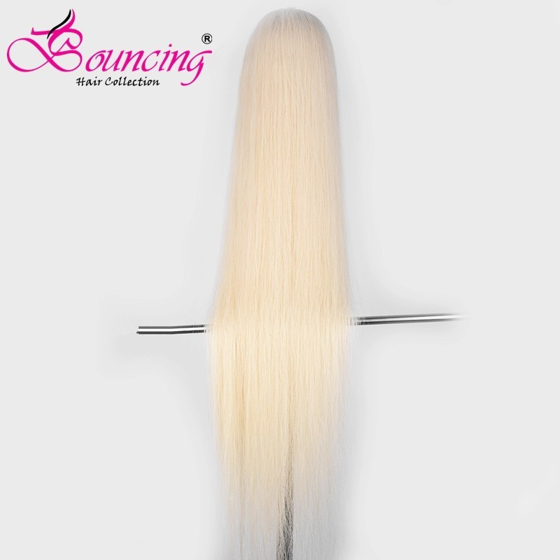 Bouncing Hair Full Lace Wig 613 Blonde Straight Virgin Hair Wigs for Pre Plucked With Baby Hair Transparent Lace 38 40 44 Inch image