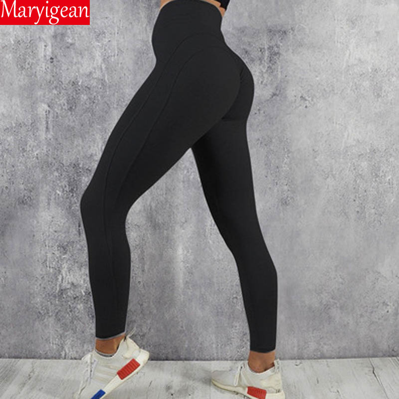 Maryigean High Quality Sexy Push Up Fitness Leggings Women Pants High Waist Sporting Leggins Workout Solid Leggings S-XL