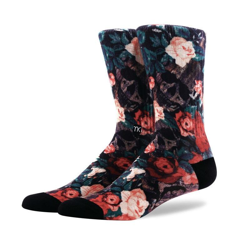 PEONFLY Cotton Men Socks Brand Spring Fall Plus Size Quality Compression Coolmax Black Grey Pattern Business Dress Male Socks