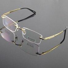 100% titanium brillen rahmen brillen männer randlose brille herren optische brille brillenfassungen oculos von grau