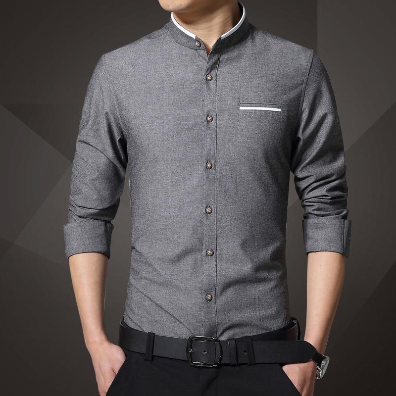 1pcs Men's Shirts Plus Size 2019 Autumn Fashion Pure Cotton Long-sleeve Mandarin Collar Dress Shirts Men Casual Shirts Overhemd