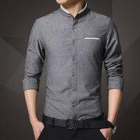 1pcs Men's shirts plus size 2019 Spring Fashion Pure cotton long sleeve Mandarin Collar dress shirts Men Casual shirts overhemd