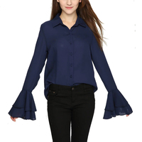 2017 Spring New Female Flare Trumpet Sleeve Shirt Base Long Sleeve Shirts Bow Front White Chiffon