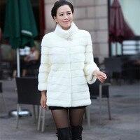 Women's winter warm fur coat mandarin collar coat long paragraph 7 points sleeve rabbit fur coat long coat free shipping