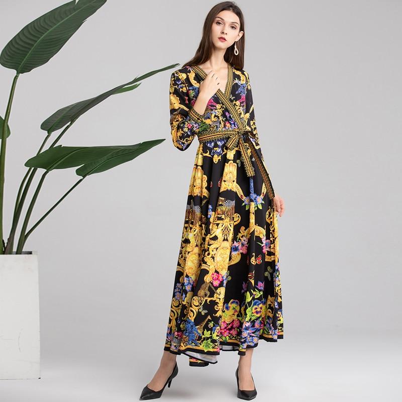 Printemps 2019 Multi V Designer Maxi Robes Fashion Femmes Col Piste Longues Longue Imprimé Robe Vintage Floral Soirée Manches Nouveau De Été nWnRaqx