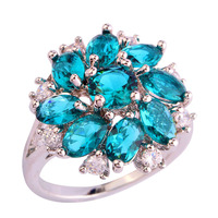 Luxuriant Cluster Flower Series Green Topaz 925 Silver Ring Size 6 7 8 9 10 11 12 Fashion Women Jewelry Wholesale Free Shipping