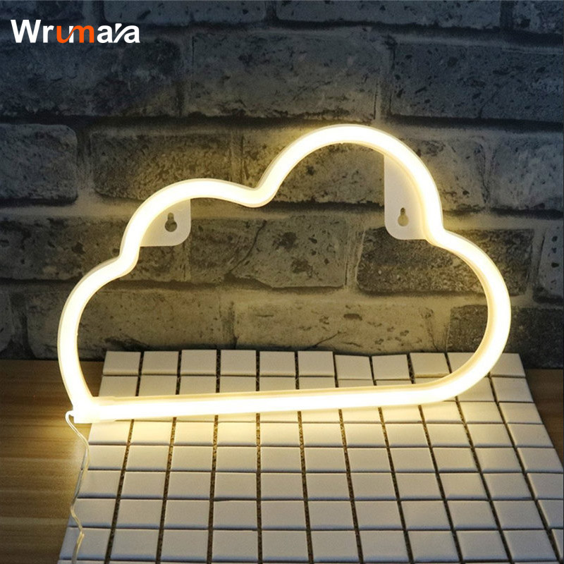 Wrumava LED Cloud Sign Shaped Decor Neon Light Wall Decor for Chistmas Birthday party Kids Room Wedding Party Decor hanging paper fan decoration wedding birthday christmas decor party events decor home decor supplies flavor