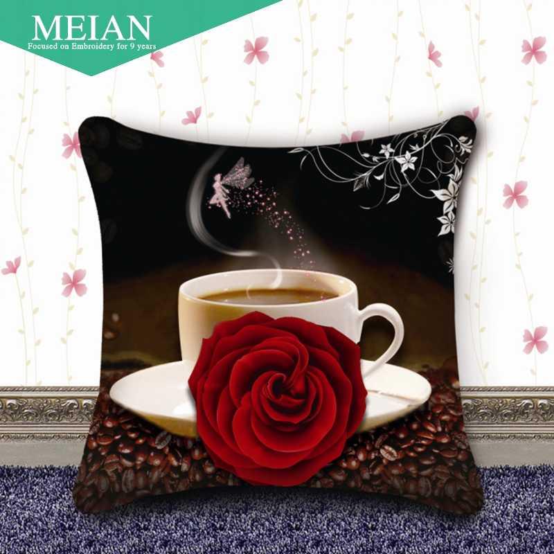 Meian, stampa punto croce cuscino una coppia di caffè Rosa Punto Croce nuovo soggiorno divano cuscino e cuscino
