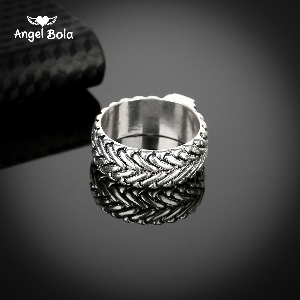 25pcs/lot New Plated Buddha Ring Lightning Round Ancient Silver Mans Spin Chain Ring for Cool Man Woman Fashion Jewelry