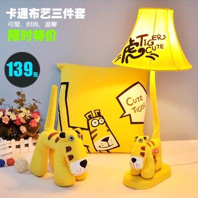 Подарок моды деревенский ткани мультфильм настольная лампа часы настольные лампы ребенок спальня ночники