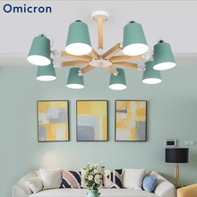 Omicron Nordic Modern LED Chandeliers Solid Wood Macarons Power Saving Lamps For Living Room Bedroom Home Decor Lights