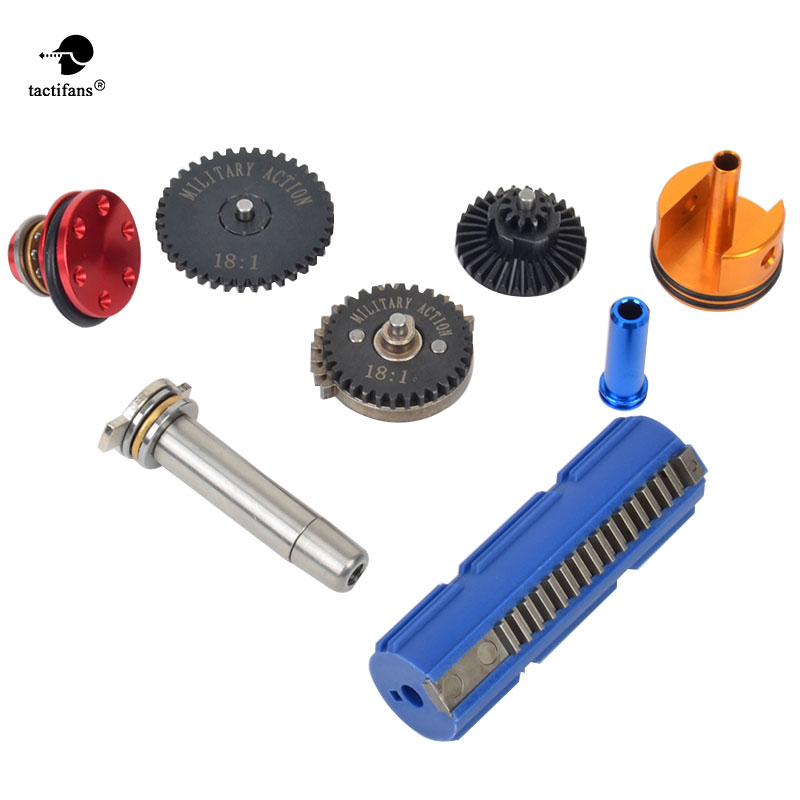Tactifans 18:1 Super High Speed Gear 15 Teeth Piston Cylinder Piston Head Spring Guide Nozzle Full tune up kit for G36 m4 ver 2 aeg airsoft accessories high speed gear piston head spring guide nozzle cylinder 13 1 16 1 18 1 200 100 300 100 cnc