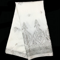 Elegant White With Mesh Lace Decoration Design African Raw Silk George Lace Fabric For Party Dress