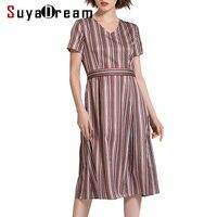 Women Silk Dress Luxury 50 Real Silk 50 Cotton Striped Dress V Neck Short Sleeved Dresses