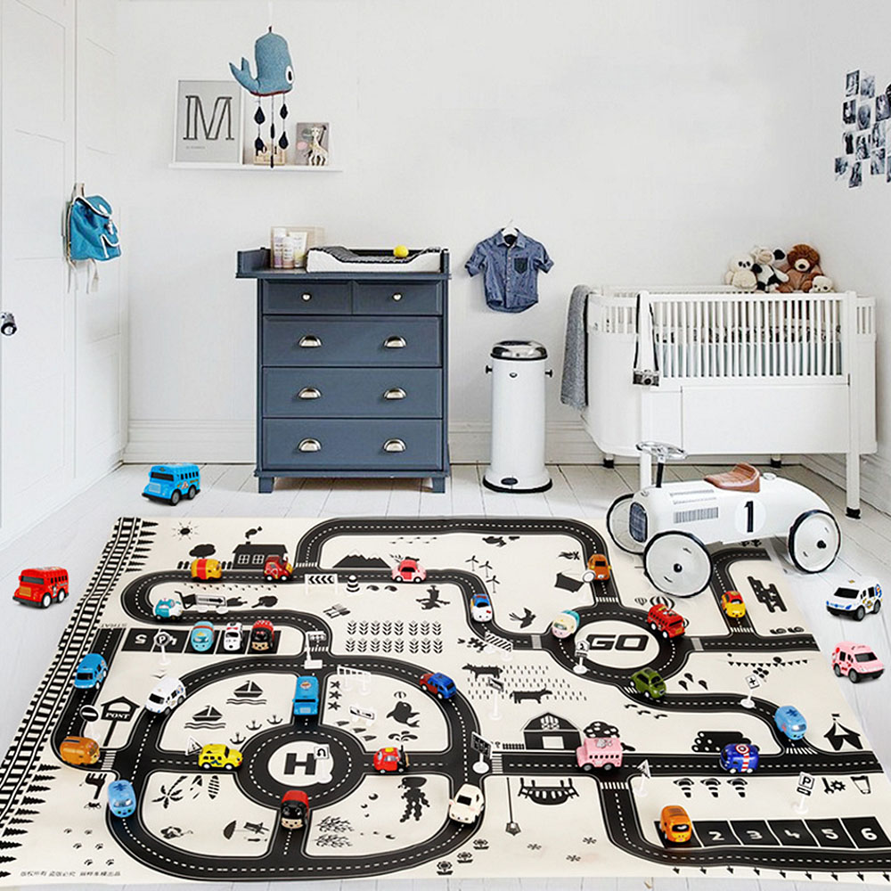 130*100CM Portable Kids Car City Scene Taffic Highway Map Baby Play Mat Educational Toys For Children Games Road Carpet J75