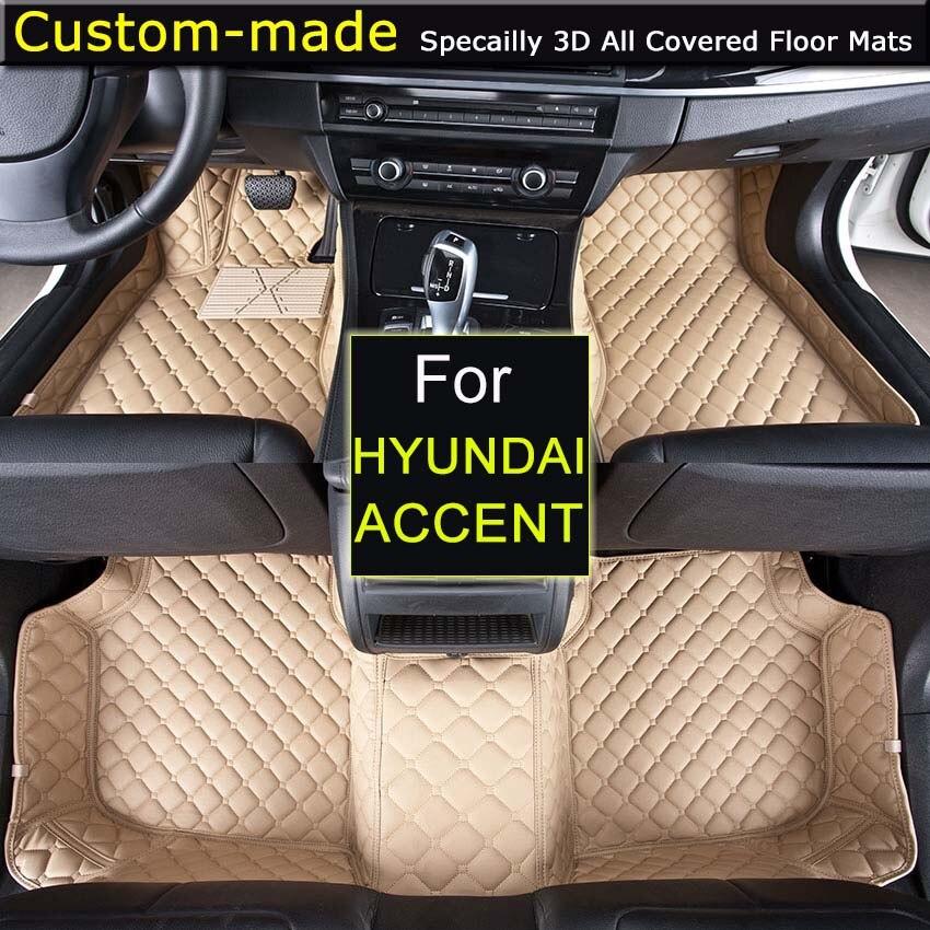 Tapis de sol de voiture pour Hyundai Accent tapis de pied tapis personnalisés style de voiture spécialement noir Beige brun