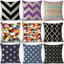Estilo Europeo cojines baratos estampado geométrico hogar decorativo cojín Vintage algodón Lino cuadrado almohadas MYJ-C4